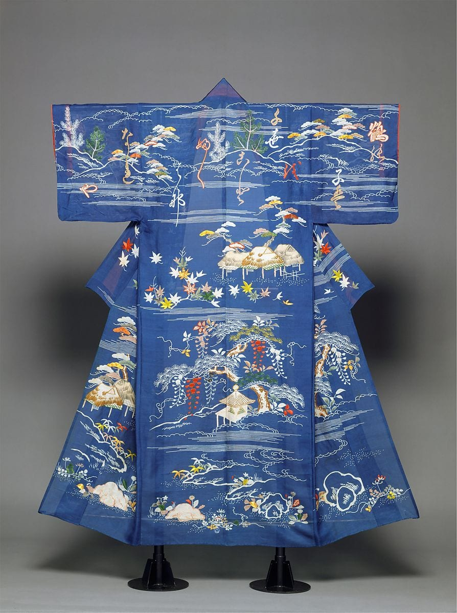 Edo era Japanese embroidered landscape and poem on clothing
