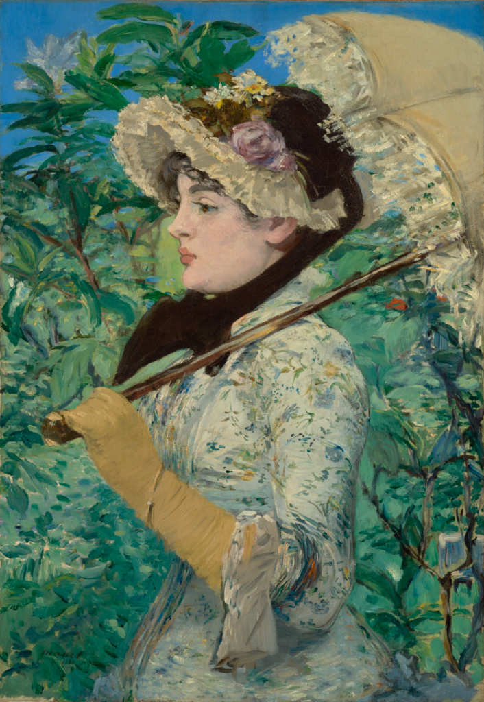 Monet painting of Jeanne in floral print romantic dress with bonnet, parasol and gloves