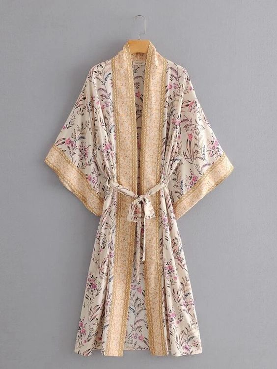 Pink Tribal Floral Print Belted lounge robe