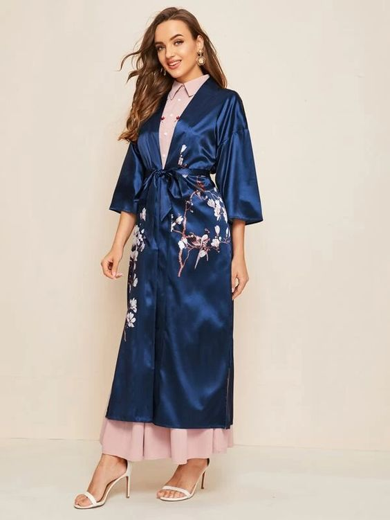Split Hem Floral Print Belted Satin cover-up over blush dress