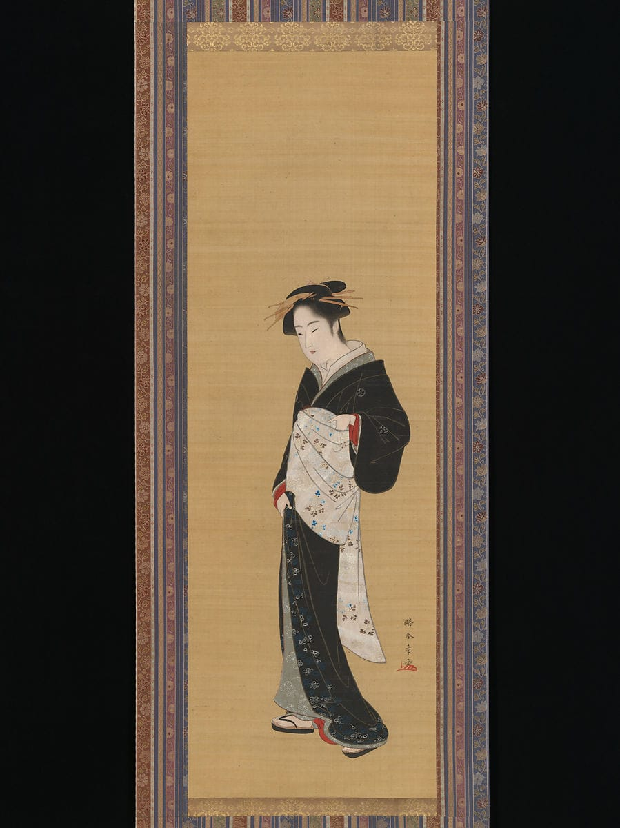 Painting of a woman in a black kimono with white obi by Katsukawa Shunshō