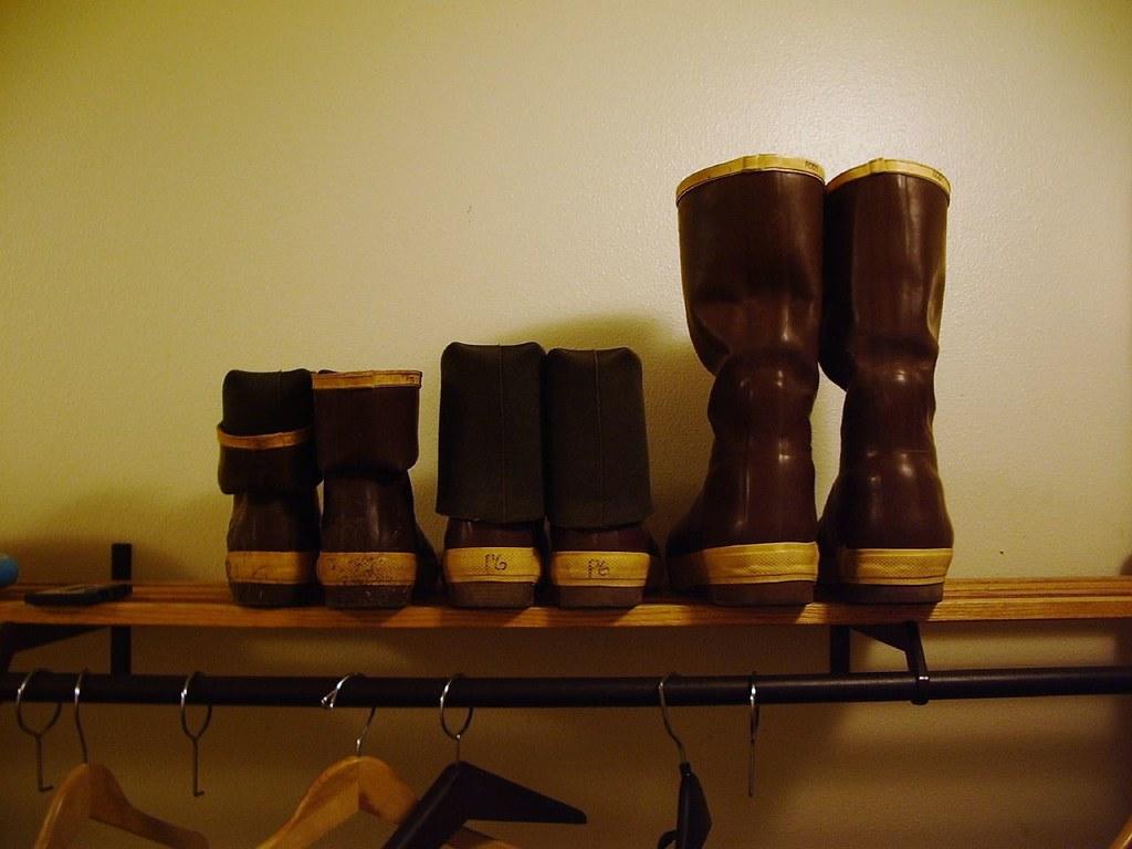 closet shelf with three pairs of Xtra Tuffs by akseabird CC BY-NC 2.0