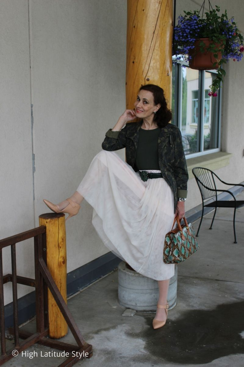 High Latitude Style blogger in eclectic street chic with camo coat