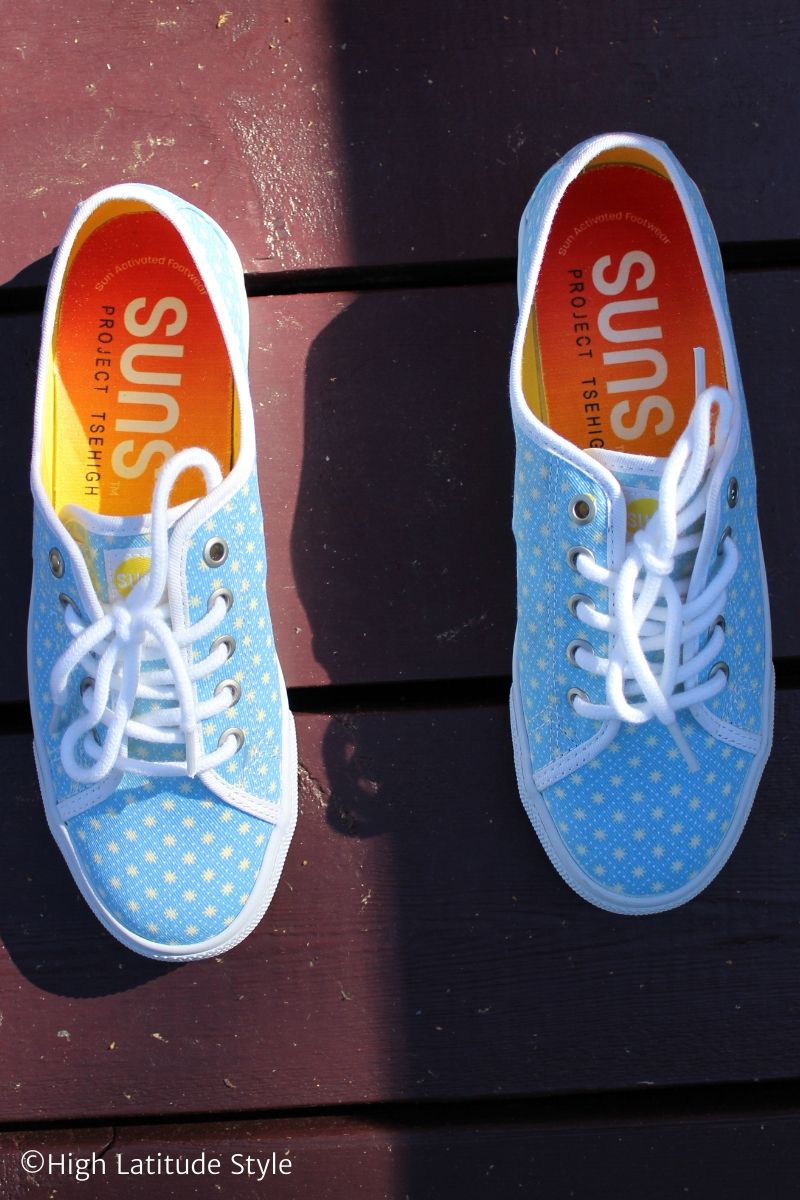 cute canva footwear in turquoise with yellow suns and white dotted grid pattern