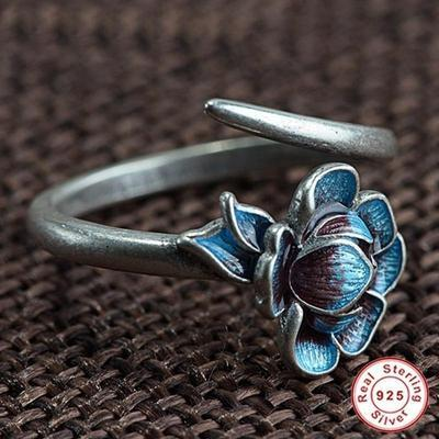 lotus inspired blue enamel sterling silver ring