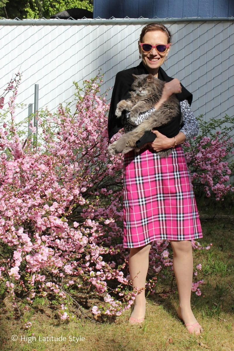 How I style a pink plaid skirt for the office