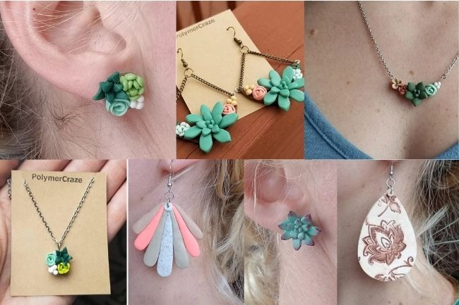 Polymer Craze romantic succulent jewelry