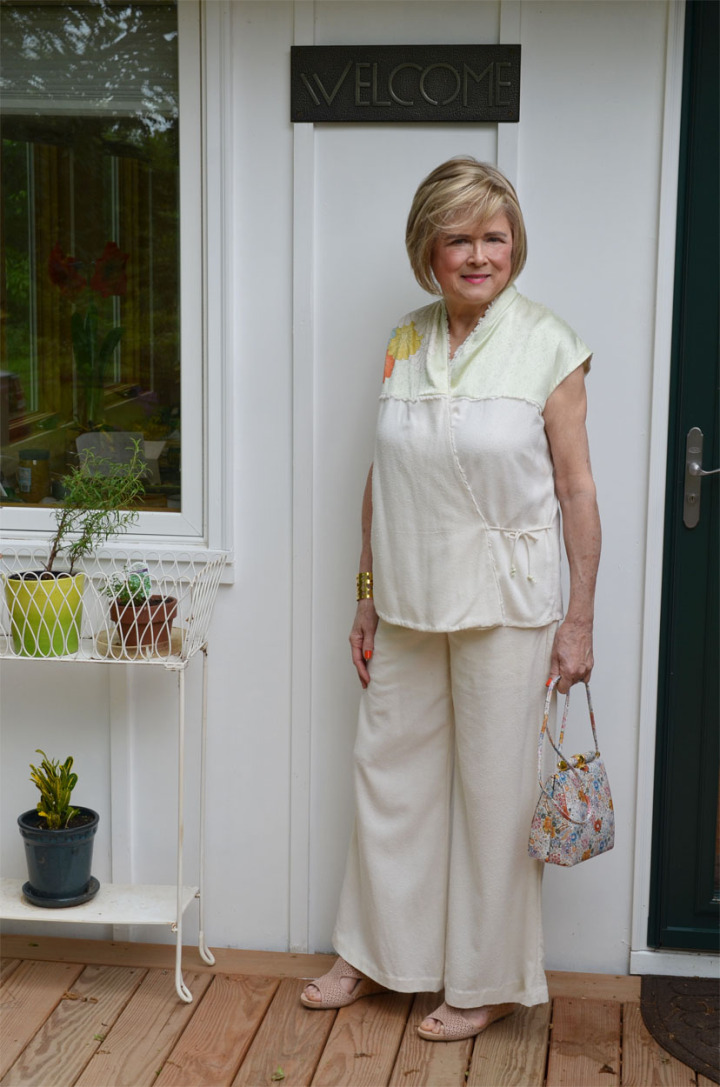 Terri Gardner of Meadow Tree Style in self-made white kimono top and pants with floral application