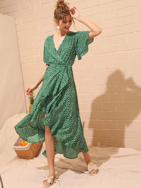 green white floral ruffled wrap dress