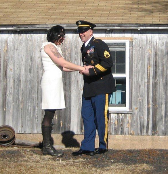 Blogger Shelbee with husband in wedding attire