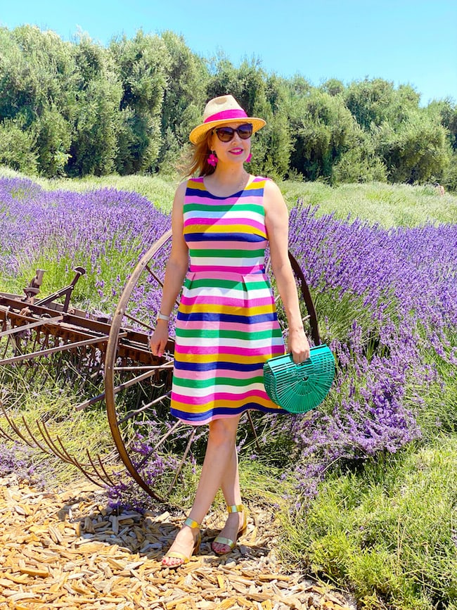 Californian blogger Katie in striped colorful fit and flare dress