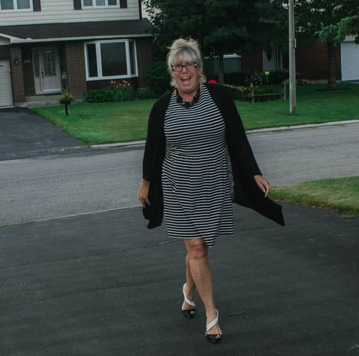 Top of the World OOTD my Fav Linda in striped black and white dress