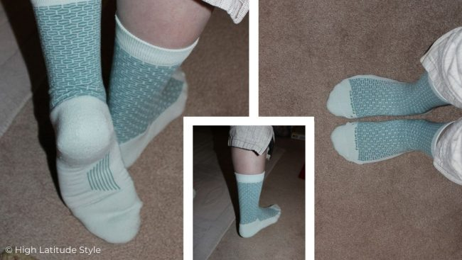 collage showing different features for the Feetures everyday socks review
