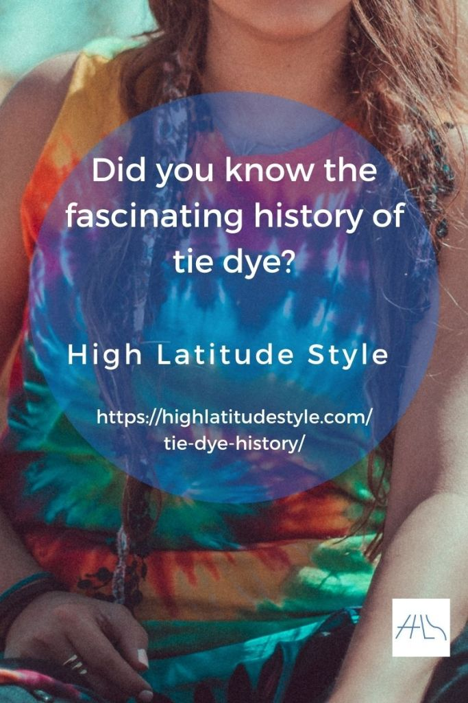 tie dye history post flyer showing a colorful tank in that technique