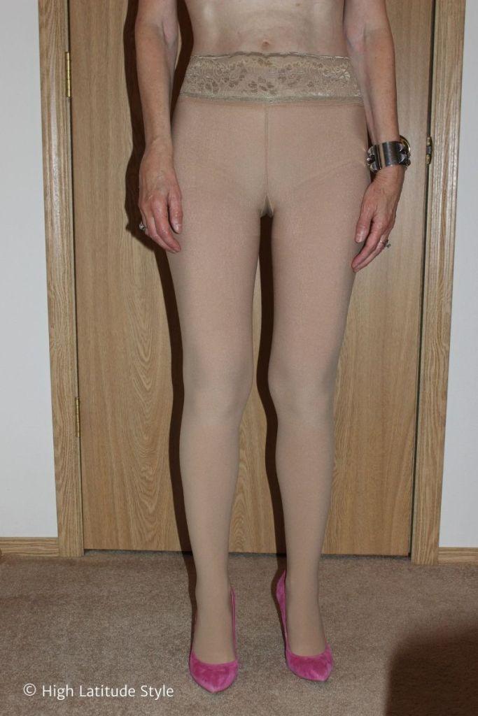 front view of legwear to illustrate natural color