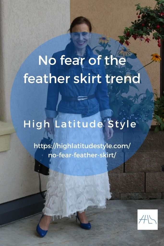 feather trend post banner showing an over 50 years old woman in such a skirt