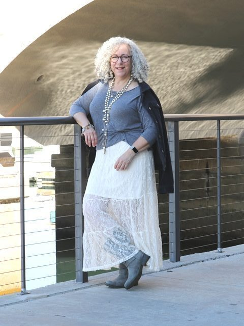 Rena from Fine Whatever in gray top white lace maxi skirt