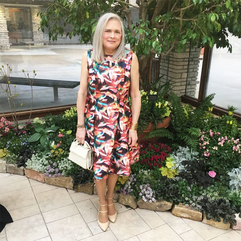 Readers Fav Terri in self made abstract print dress