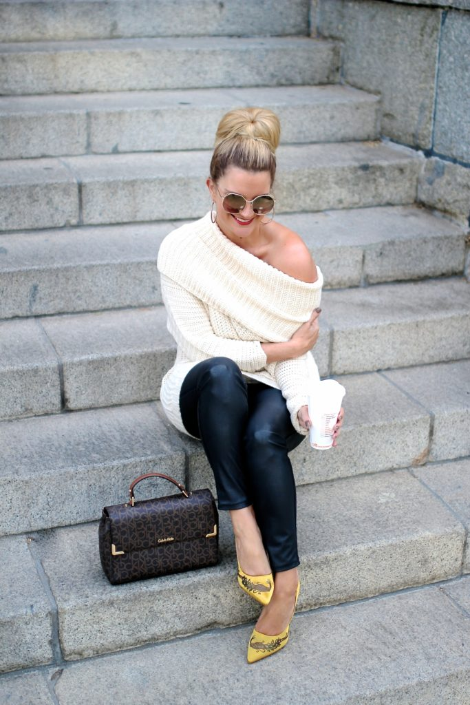 Style winner Shauna of Lipgloss and Lace in oversize sweater, leggings, pumps fall look