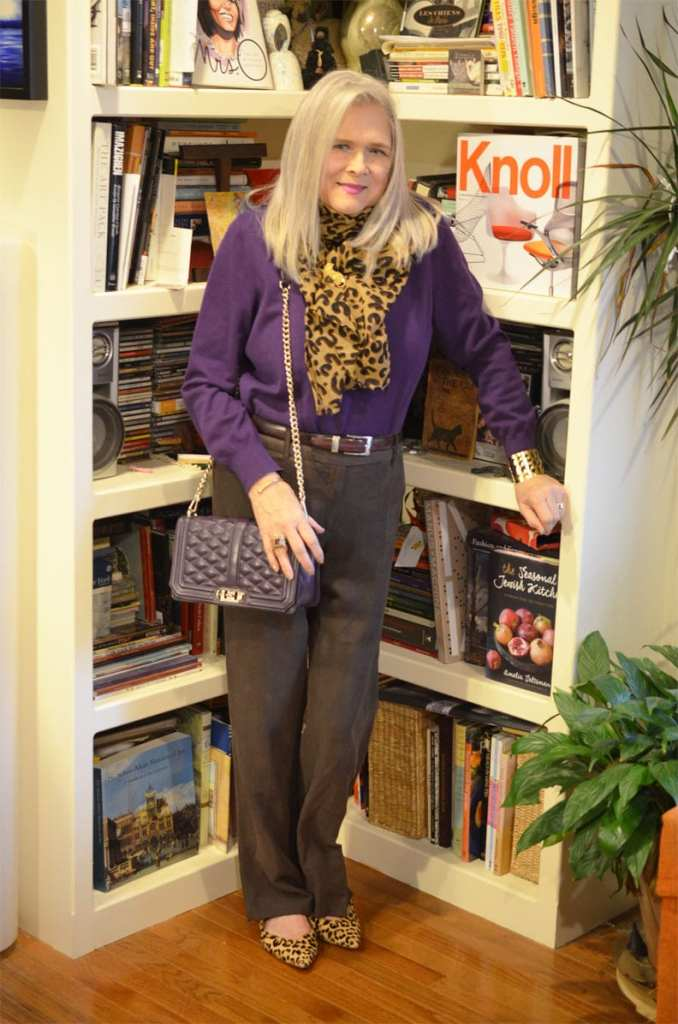 Terri of Meadow Tree Style in leopard and purple pants top shoes and scarf look