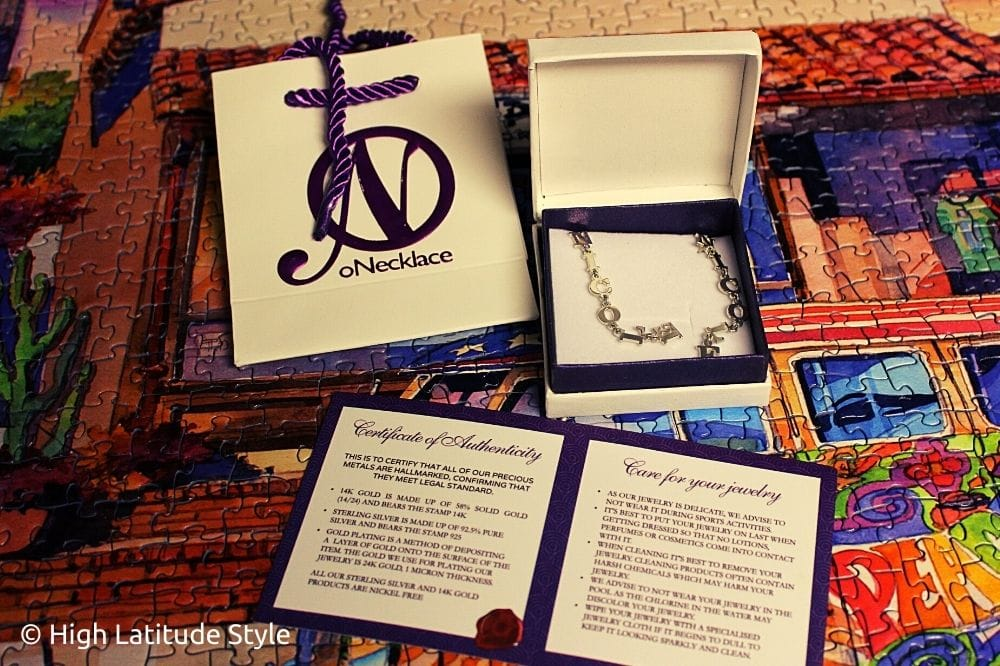 oNecklace gift bag, certificate of authenticity, ear jewelry