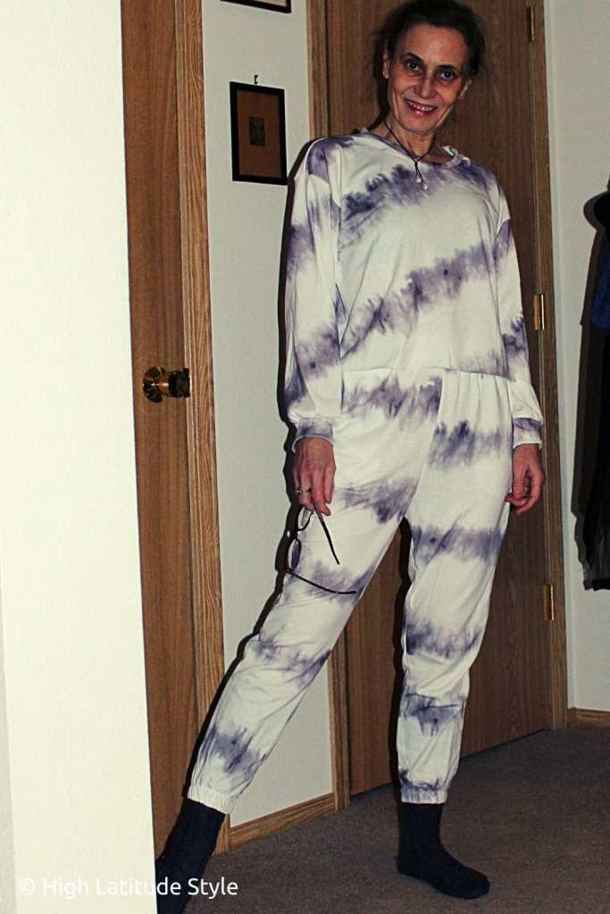 over 50 years old woman in cheap loungewear