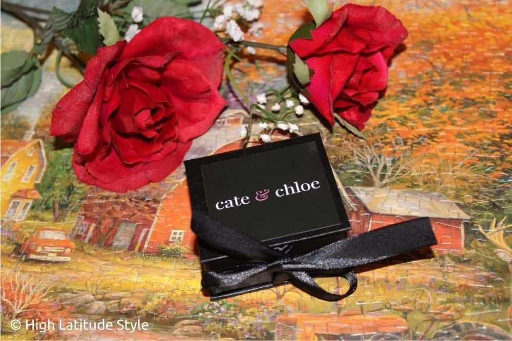 Cate and Chloe black gift box with satin bow
