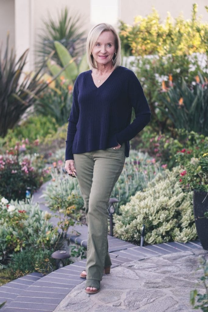 Darlene from Aquamarina Style in olive pants, navy sweater