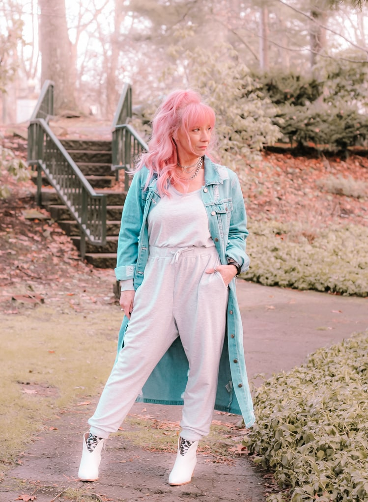 Debbie of Fashion Fairy Dust in jumpsuit and denim coat