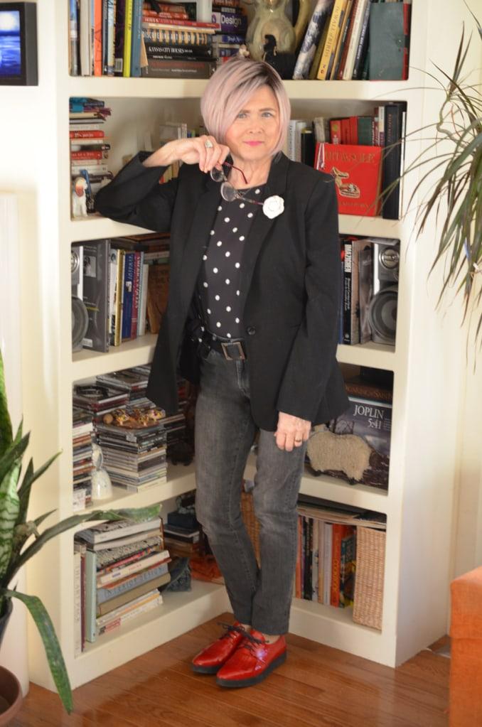 Terrir from Meadow Tree Style in polka dot top, black blazer, black jeans