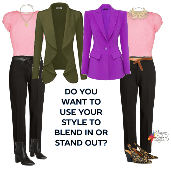 two outifts, one to belnd in in neutrals, the other to stand out in fashion color