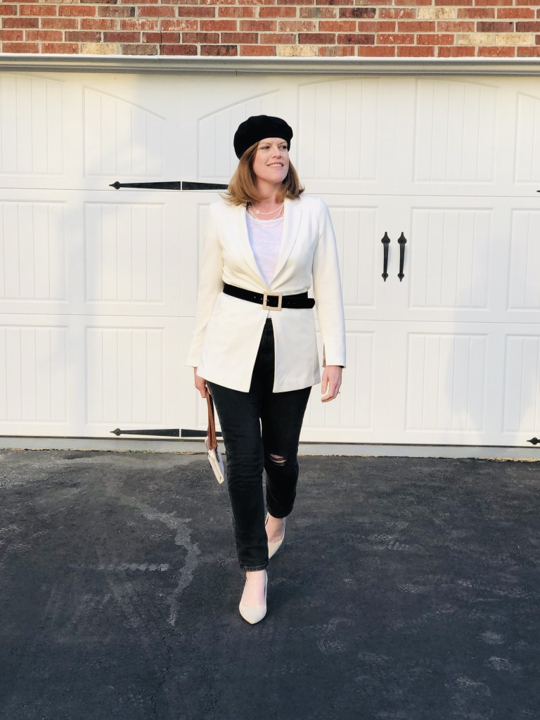 Christine of Bon Chic Style in French inspired winter to spring transition outfit