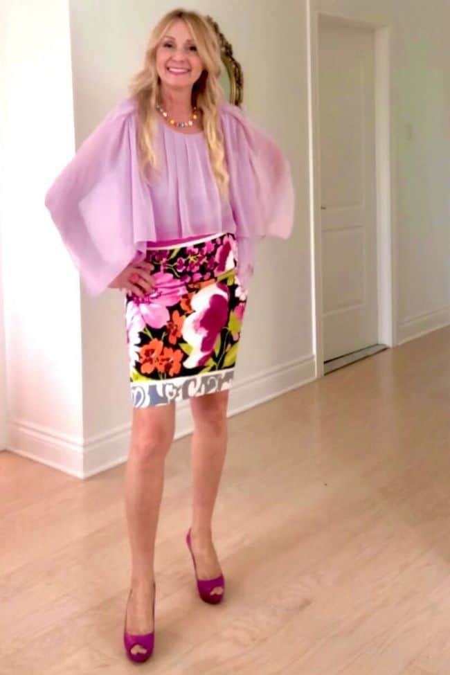 Lucy in eclectic romance look with floral skirt