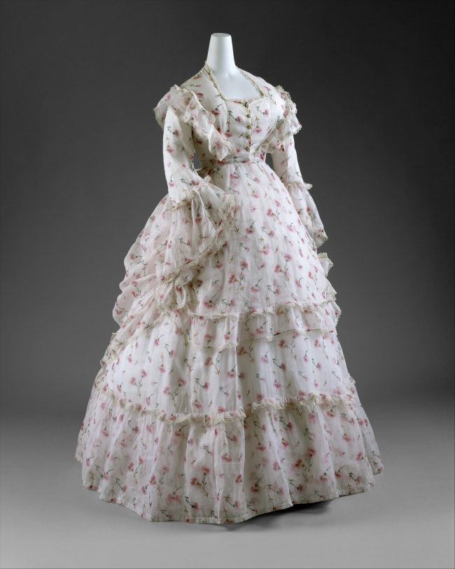 afternoon reception dress with cherry pattern