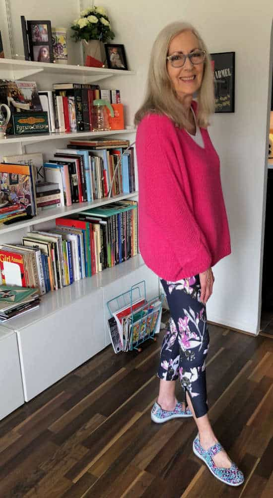 Penny Kocher is floral leggings and pink top