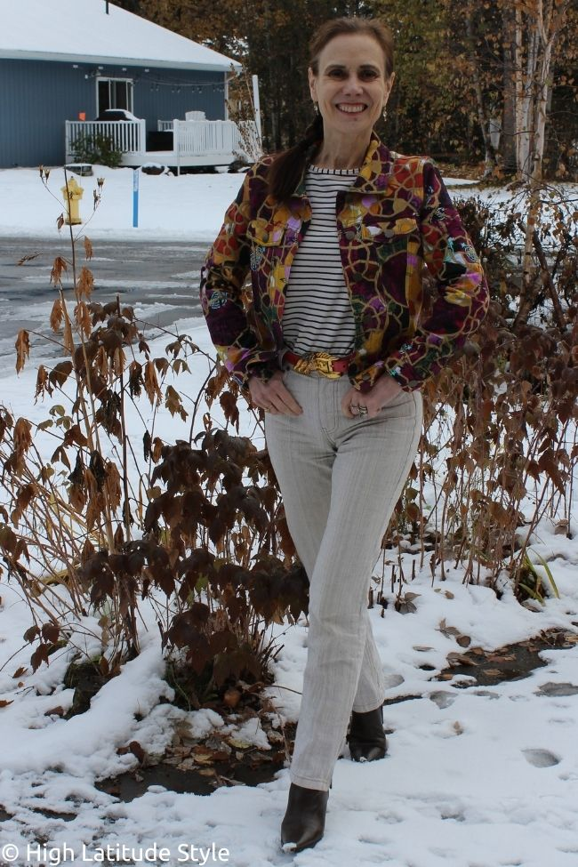 example 3 of how to maximize outfits with a crazy print jacket in separates