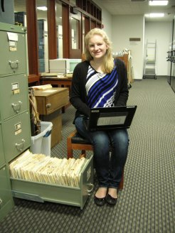 Erin, hard at work in the Hess Archives