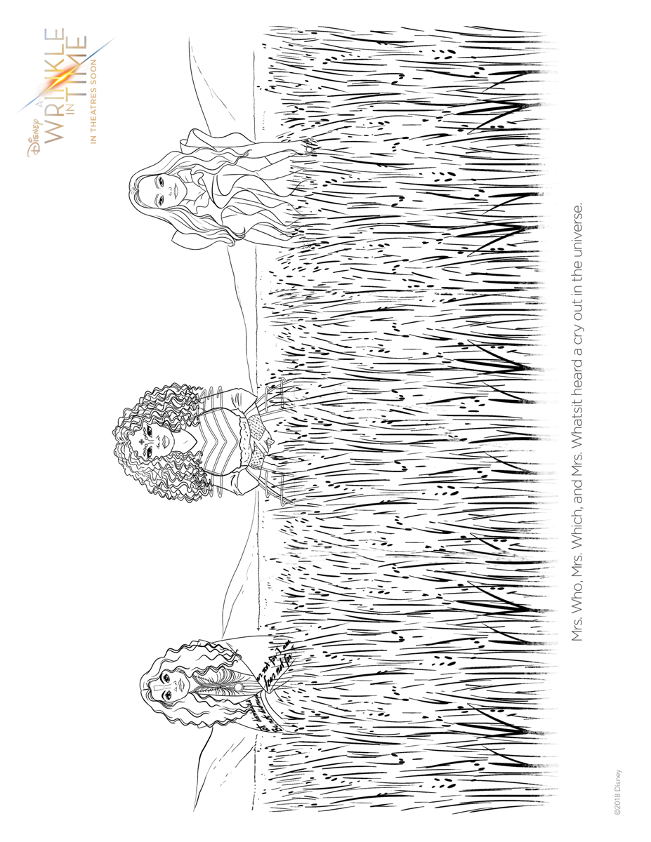FREE Printable A Wrinkle in Time coloring and activity sheets!