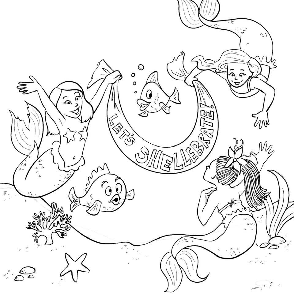 Mermaid Birthday Free Printable Coloring Sheet for MerMay