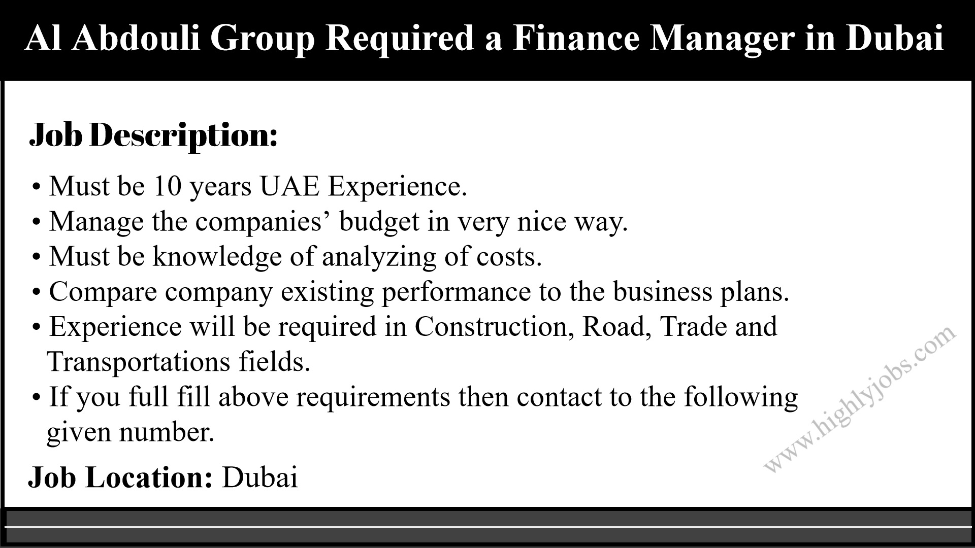 Finance Manager Job Description Finance Manager In Dubai Uae Highlyjobs