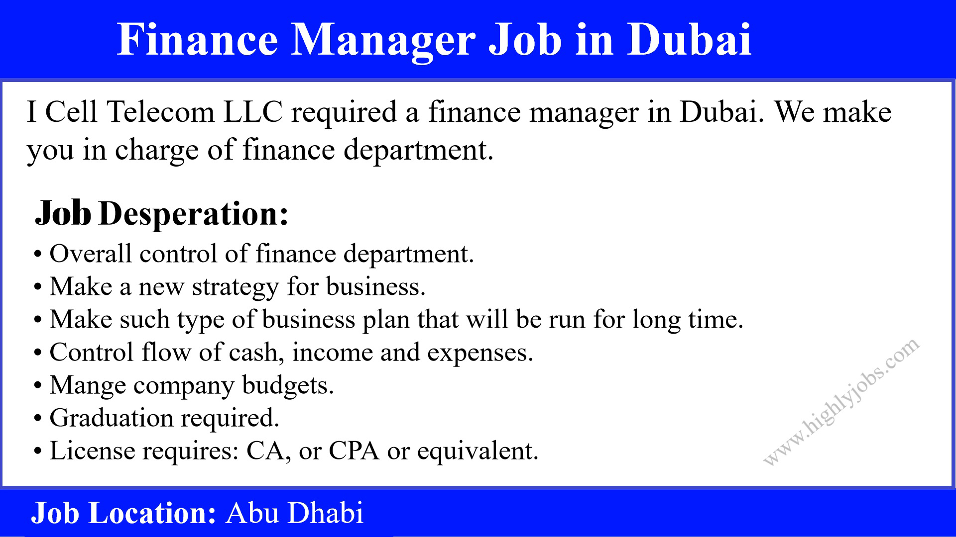 Finance Manager Job Description Finance Manager Job In Dubai Highlyjobs