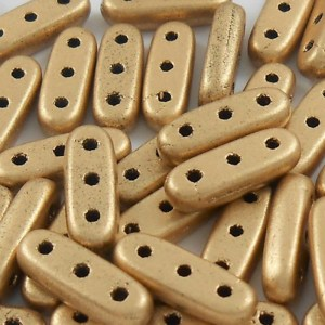 czechmates-2-hole-beam-beads-matte-metallic-gold
