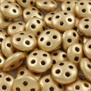 czechmates-4-hole-quadralentil-beads-matte-metallic-gold