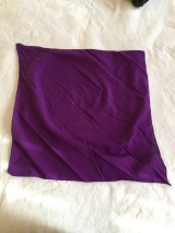 Square, purple headscarf unfolded on white background.