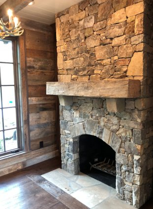 Custom Mantle of Reclaimed wood by High Mountain Millwork Company - Franklin, NC #318