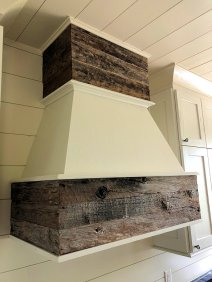 Custom range hood using reclaimed wood by High Mountain Millwork - Franklin, NC