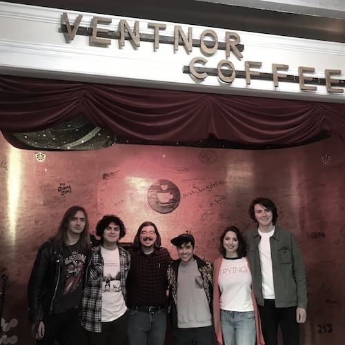 Shaun with members of The Mountain Waves and Boycot. Pictured from left, Sergio Ripa and Kevin Velazquez of The Mountain Waves, Shaun Smith of The High Note, Boycot founders Tyler Gehringer and Ellie Dotson and CJ Sooy of The Mountain Waves at Ventnor Coffee.