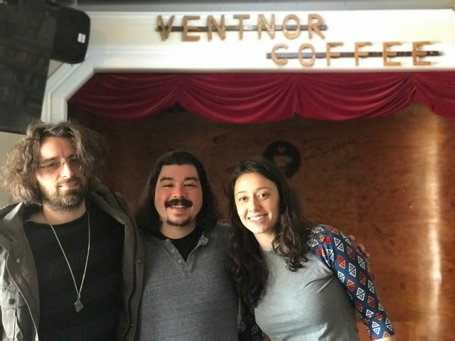 Alex and Elizabeth Sinari from The Yearlong Revue with Shaun Smith at Ventnor Coffee.