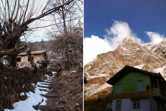 Wooden houses in Lachung that have been converted into homestays