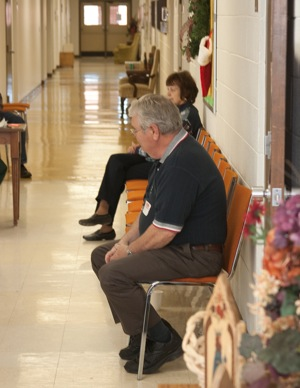 Wayne waits to counsel someone at the 2009 Toy Store